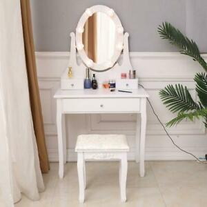 Vanity Table Set with Lighted LED Oval Mirror Makeup Dressing Table w 3 Drawers