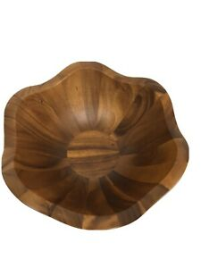 SALE! NAMBE Wood Salad Bowl with Scalloped Edges 15