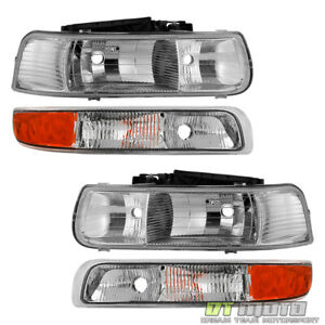 4PC SET 99 02 Chevy Silverado 1500 00 06 Suburban Tahoe Headlights Bumper Lamps
