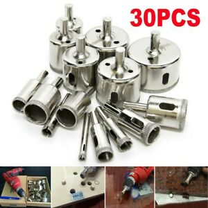 30Pcs Diamond Hole Saw Drill Bit Set Cutting Tool 6mm 50mm For Tile Marble Glass $16.99