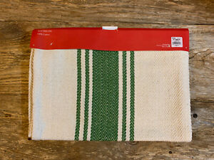 """Farmhouse Style Green & Ivory Striped Table Runner- 14""""x72""""- NWT"""