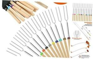 Marshmallow Roasting Sticks Wooden Handle Set of 12 Smores Skewers Telescoping F