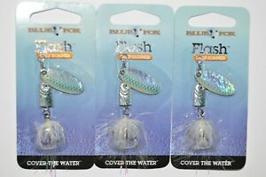3 lures spinners blue fox flash 3 16 oz shad trout bass dressed flash tail