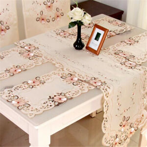 Party Placemate Set Table Runner Table Decor Dinner Home Decor Embroidered 6T