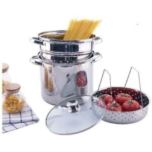 Stainless Steel Pasta Multi-Cooker 8 Qt Stock Pot Steamer w/ Lid 4 Pcs. Cookware