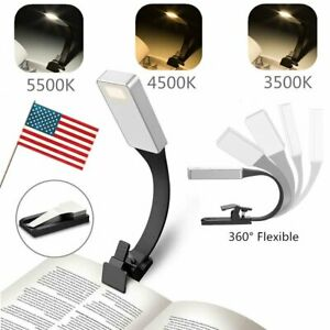 USB Rechargeable LED Book Light Flexible Clip On Book Night Light Reading Lamp