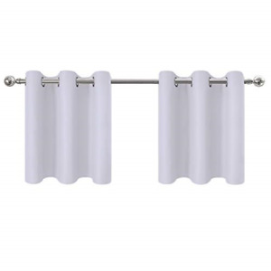"Aquazolax Kitchen 42x24""Greyish White1 Pair Blackout Window Curtain Panel"