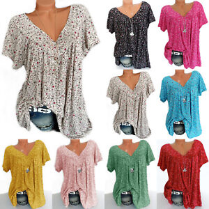 Plus Size Women V Neck Floral Tunic T shirt Short Sleeve Blouse Loose Fit Top