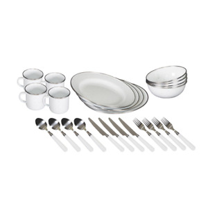 Enamel Camping Tableware Set 24 Piece Durable Stainless Steel Double-Glazed New