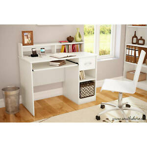 Small Computer Study Student Desk Table with Drawer Home Office Furniture, White