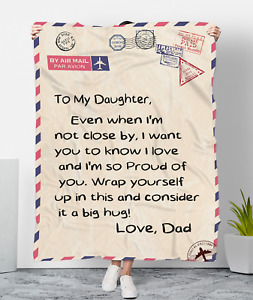 To My Daughter Birthday Gift From Dad Love Social Distancing Envelope Blanket