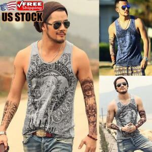 Mens Summer Casual Printed Tank Tops Muscle Vest Gym Sports Sleeveless Shirt Tee $15.38