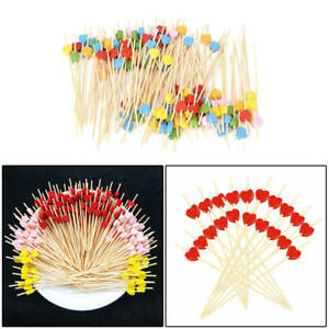 Disposable Cocktail Toothpick 100pcs Bamboo Food Drink Fruit Fork Party  dfhg
