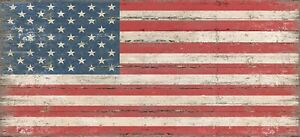 Sixtrees American Flag 5 x 11 Inch Wooden Decorative Box Sign