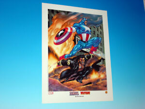 Ultimate Captain America amp; Wolverine Lithograph Tom Derenick Art Marvel Comics $29.95