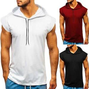 New Men Short Sleeve T shirt Fitness Workout Gym Hooded Hoodie Muscle Solid Top $15.48