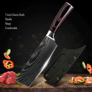 7 in Kitchen Cleaver Knife High Carbon Stainless Steel Damascus Style Chef Knife