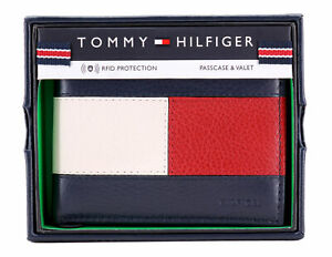 Tommy Hilfiger Men#x27;s Premium Leather Double Billfold Passcase Rfid Wallet Navy