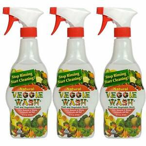 Veggie Wash All Natural Fruit and Vegetable Wash Sprayer, Pack of 3, 16-Ounce Ea