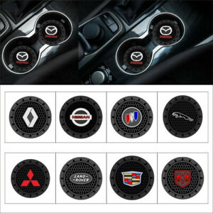 2Pcs set 2.83quot; Car Logo Cup Holder Silicone Coaster Non slip mats Insert Coaster
