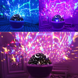 Starry Night Sky Projector Lamp Kids Baby Gift Moon Star Light Rotating Cosmos