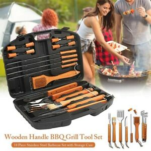 18-Piece Stainless Steel BBQ Tools Set Kit Grill Cookware Utensils With Case USA