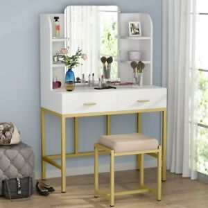 Vanity Set Dressing Table with Mirror Drawers & Stool Elegant Bedroom Furniture