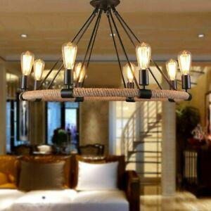 Rustic Iron Rope Chandelier Candle kitchen Pendant Light Ceiling Light Fixture