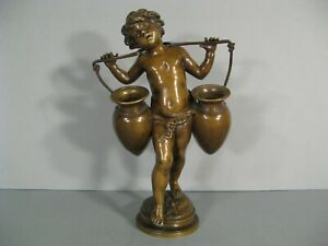 The Young Boy Holder Water Antique Sculpture Bronze Signed Auguste Moreau $1112.15
