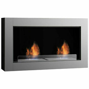 38 Inch Wall Mounted Bio-Ethanol Fireplace Ventless Dual Burner Fireplace