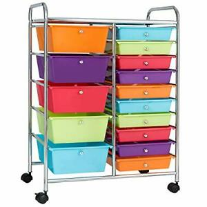 Rolling Art Organizer with 15 Drawers Craft Cart Organizers and Storage