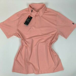 $70 NWT Playoff 2.0 Under Armour Peach Pink Mens Large Polo Shirt for Golf New $34.95