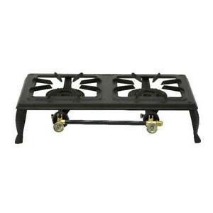 Double Burner Camping Propane Patio Iron Stove Durable Steel Outdoor Meal Black