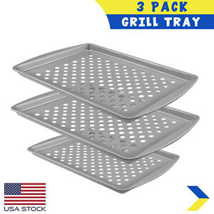 Grill Topper BBQ Reusable Tray For Grilling NonStick Vegetable Meat 3-PACK
