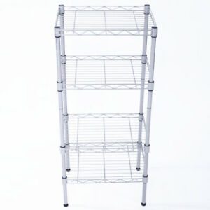 Rectangle Carbon Steel Metal Assembly 4-Shelf Storage Rack Silver Gray