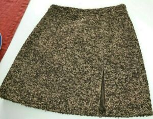 MICHAEL KORS Best Line tweed brown Above knee skirt slit NEW UK 12 US 10 £450