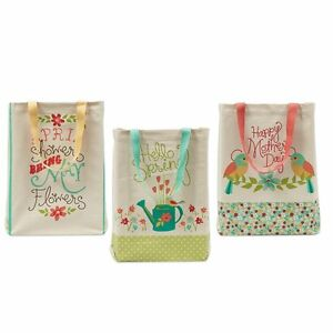 Shopping Canvas Totes 3 Pack Garden Printed Cotton 15quot;w X 15 1 2quot;l X 4
