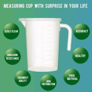 1L Transparent PP Resin Measuring Cup with Handle and Lid for Kitchen or Laborat