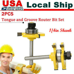 Bit Tongue & Groove Router Bit Set -3/4in Stock 1/4in Shank T-shape Wood Milling