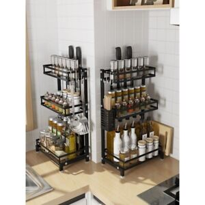 Spicy Shelf Spice Rack and Stackable Organizer - New 3 Tier W/Hook Free mount US