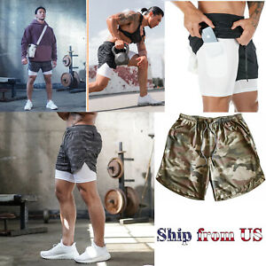 Men's Sports Training Running Bodybuilding Workout Fitness Shorts Gym Pants $15.99