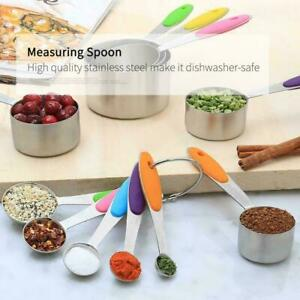 10pcs Stainless Steel Measuring Cups Spoons Kitchen Cooking Baking Tools Set NEW