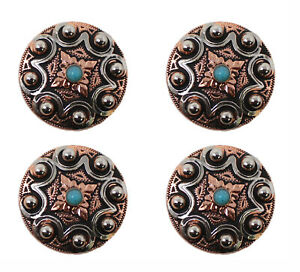 Concho Set of 4 Conchos Western Saddle Tack Engraved Copper 401553