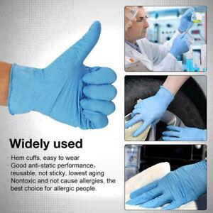 100PCS Blue Disposable Gloves Powder Free Household Cleaning Gloves US