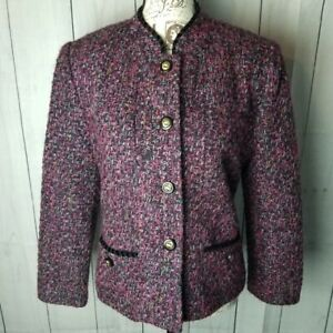 VTG Henry Lee Tweed Style Blazer Coat Short Length Womens Size 14