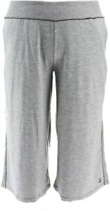Cuddl Duds Slub Knit Cropped Wide Leg Pants Charcoal 1X NEW A346845