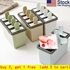 Kitchen DIY Pop Mold Popsicle Maker Silicone Tray Pan Frozen Ice Cream Mould NEW