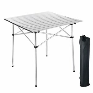 Portable Folding Aluminum Roll Up Table Lightweight Outdoor Camping Picnic Bag