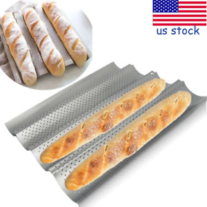 4 Loaves French Bread Baguette Pan Mould Non-Stick Wave Loaf Bake Baking Mold