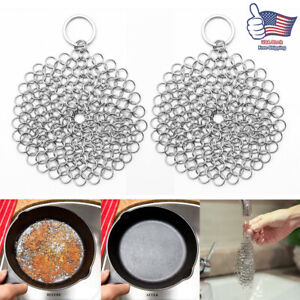 2pcs Stainless Steel Cast Iron Pot Cleaner Chain Mail Scrubber Cookware Kitchen